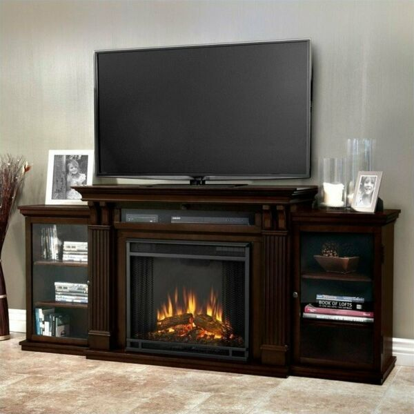 Real Flame Calie TV Stand with Electric Fireplace in Dark Walnut