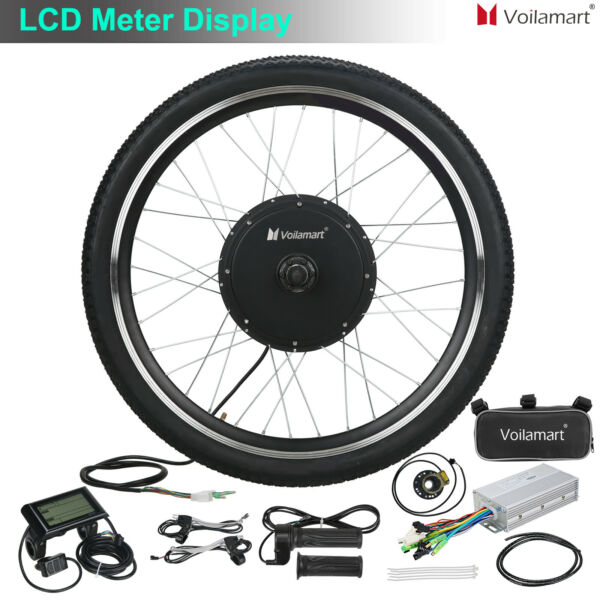 1000W Electric Bicycle Motor Conversion Kit E Bike Cycling Front Wheel LCD Meter $223.39