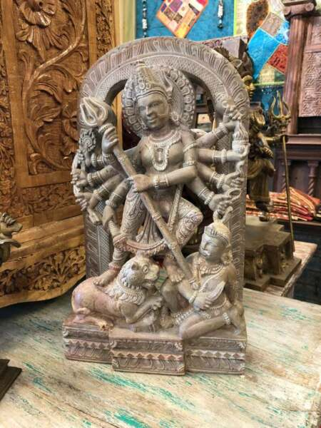 Sculpture of A Warrior Goddess Durga Statue Altar Idol Meditation Hand Carved