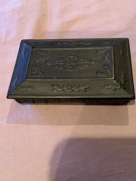 Antique self closing Cast Iron Match Safe Holder Or Box For Fireplace