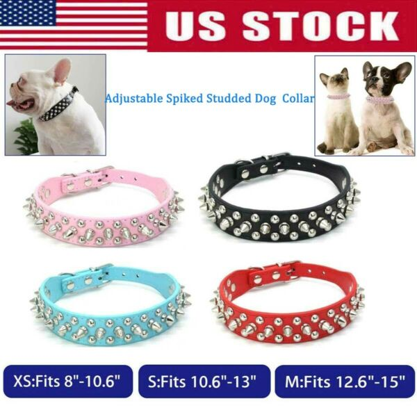 Puppy collar Rivet Spiked Studded small pet dog leather cat Necklace Choker XS S $10.95