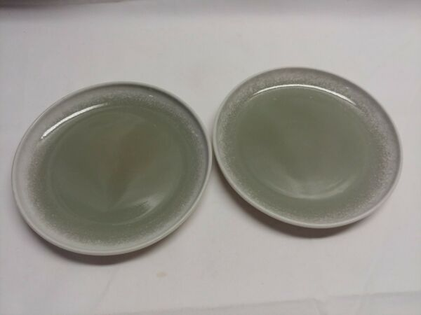 WINFIELD CHINA CALIFORNIA SET OF 2 LUNCH SALAD PLATES GREEN GRAY WHITE $12.00