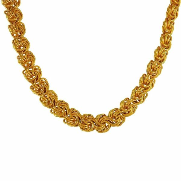 HANDMADE 20K YELLOW GOLD TWISTED CURB ROLO CHAIN MEN WOMEN JEWELRY RARE DESIGN