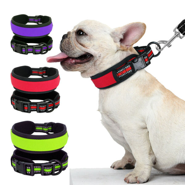 Reflective Dog Collars Soft Neoprene Padded Wide Collar for Small Medium Dog S L $9.99