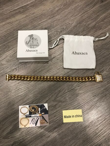 Abaxaca Luxury Dog Collar Personalizedl Stainless Steel 18K Gold 9.5 Inch 10.5 $26.00