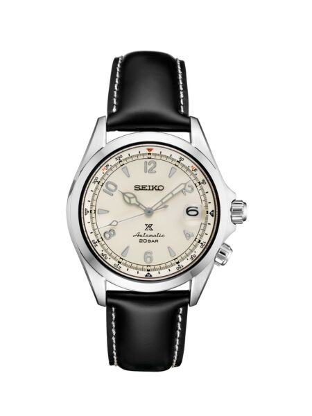 New Seiko Alpinist Champagne Dial Stainless Leather Strap Men's Watch SPB119