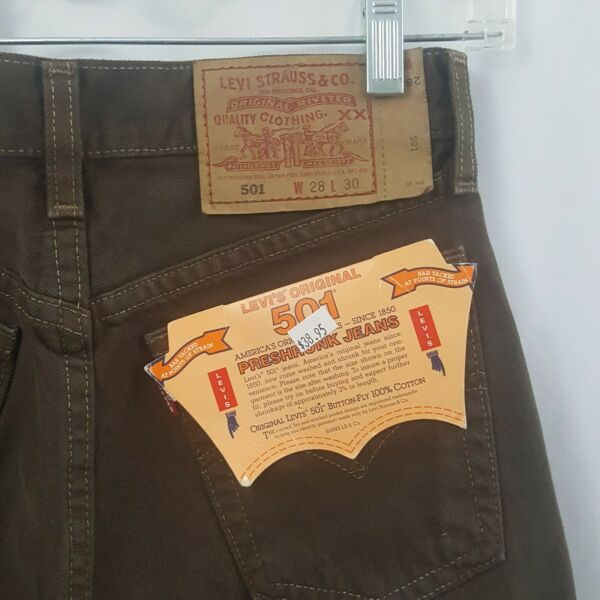 Levis 501 Brown Jeans 1993 Vintage Dead Stock Mens USA Made Leg Tag 28x31 NOS