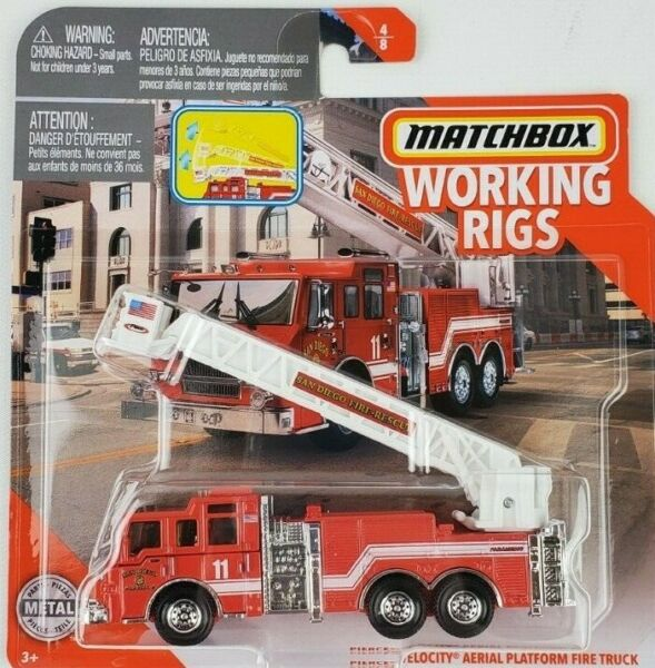 2020 MATCHBOX WORKING RIGS Pierce Velocity Aerial Platform Fire Truck