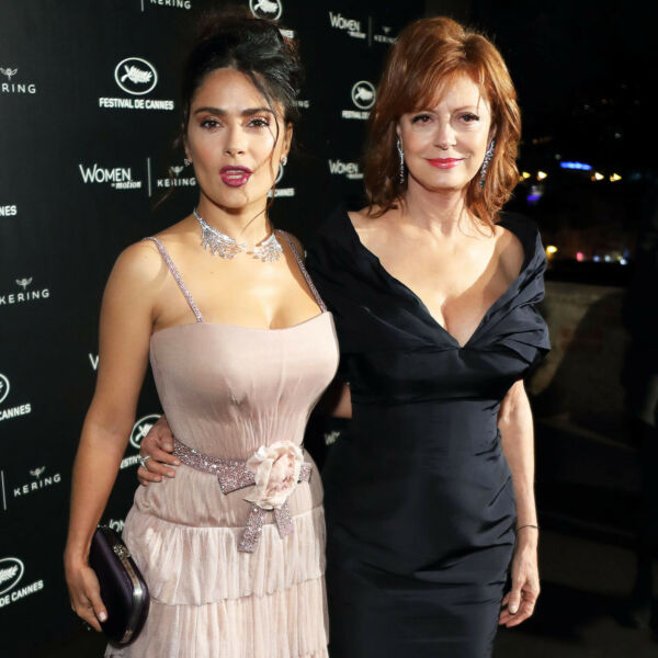 Salma Hayek Posing With Her Friend 8x10 Picture Celebrity Print