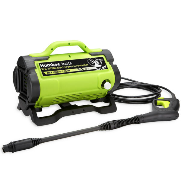 HUMBEE Tools Portable Electric Pressure Washer 1900 PSI 13.3 amp motor outputs
