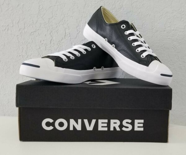 Converse Jack Purcell Black Leather Ox Low Top Sneaker 1S962 Size Mens 6.5 WMN 8
