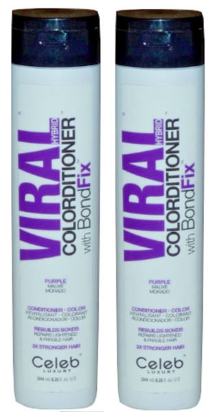 2 PACK Celeb Luxury Viral Purple with BondfFix Colorditioner 8.25 oz Conditioner