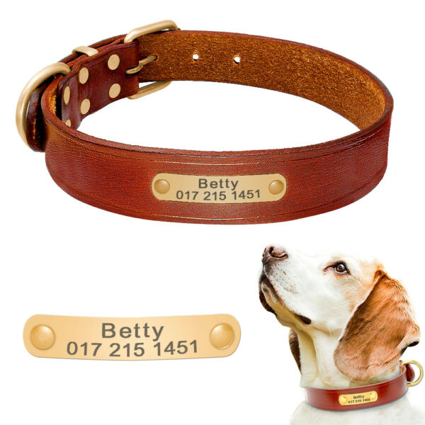 Personalized Dog Leather Collar Custom ID Nameplate Engraved for Small Large Dog $15.99