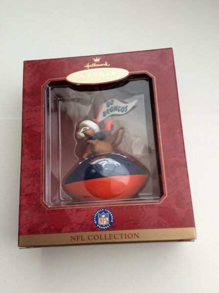 DENVER BRONCOS CHIPMUNK HALLMARK KEEPSAKE ORNAMENT NFL COLLECTION w BOX 1999