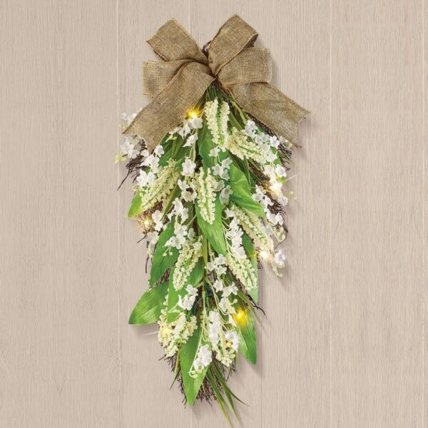 Lighted Bellflower Floral Swag with Burlap Bow Door Wall Decor