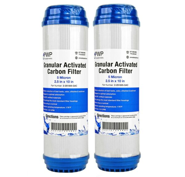 Granular Activated Carbon Water Filter Cartridge 2.5 x10quot; 5 Micron 2 Pack