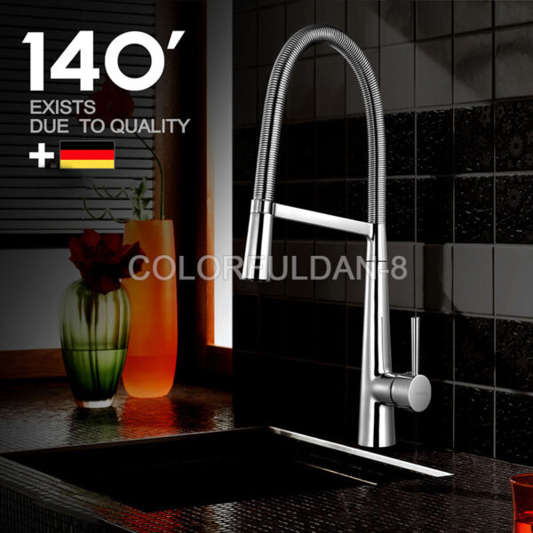1PCS 360 Swivel Chrome Spring Kitchen Faucet Single Sink Mixer Tap Deck Mounted