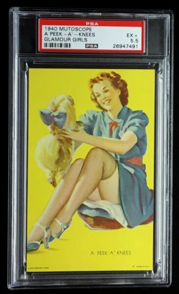 1940 PSA 5.5 EX+ EXHIBIT  ARCADE MUTOSCOPE CARD *A PEEK -A-KNEES * CHEESECAKE