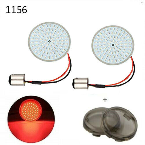 2quot; Rear 1156 LED Turn Signal Light Inserts Lampamp;Smoke Lens Cover For Harley FXD