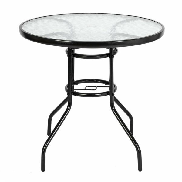 Garden Table 32quot; Patio Round Tempered Glass Top Dining Table with Umbrella Hole $62.89