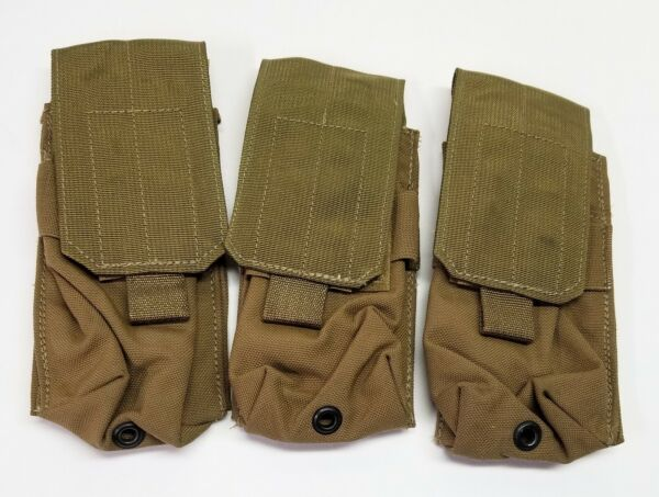 3 Allied Industries USMC FSBE Double Rifle Magazine Pouch 1x2 Coyote MOLLE NSN $29.95