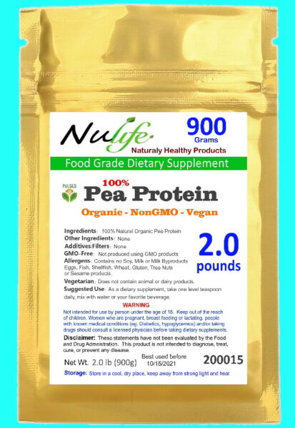 PEA PROTEIN Natural Unflavored Powder 2lbs 30 Servings Post-Workout Nutrition