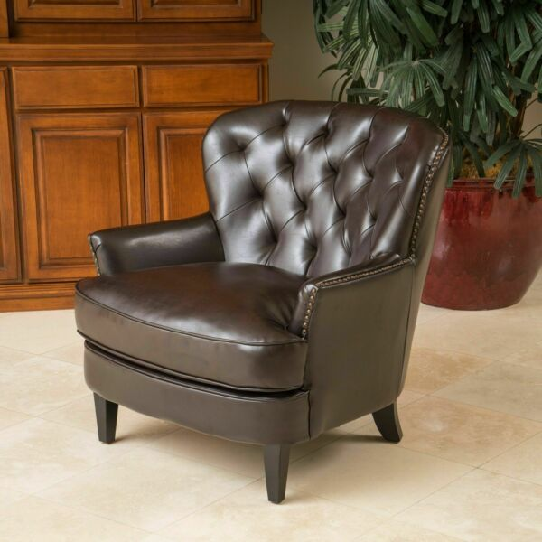 Living Room Furniture Brown Tufted Leather Club Chair w Nailhead Accent $473.83