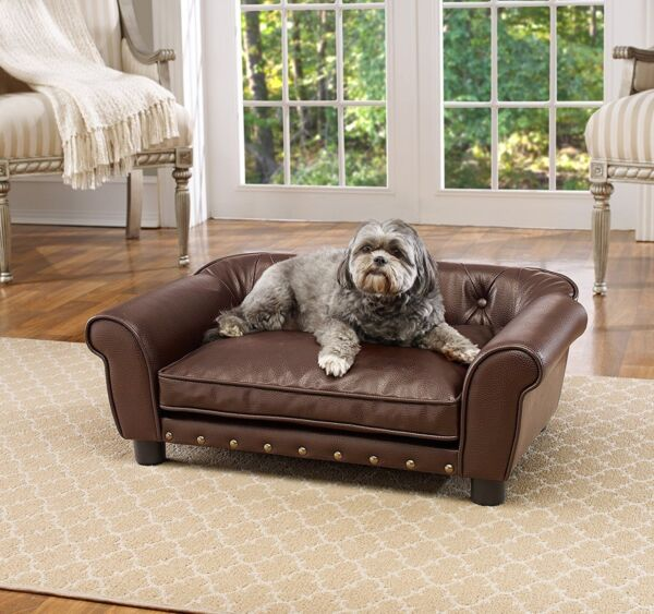 Dog Pet Brisbane Tufted Pet Bed Sofa Pet Puppy Couch Elevated Furniture Pillow $172.99