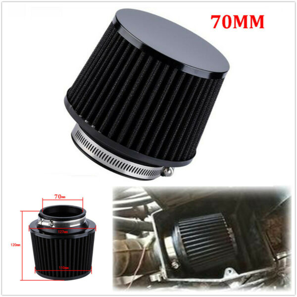 Universal Motorcycle Scooter Accessories 70mm Black Air Filter CleanerAdapter $20.60