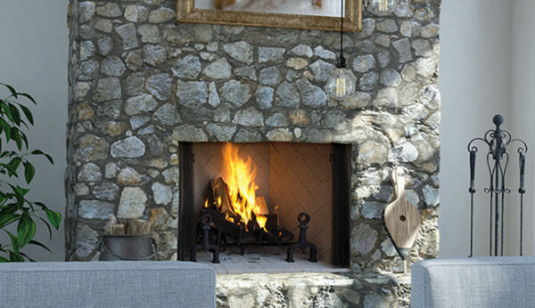 Superior WRT4536 Wood Burning Fireplace with Steel Grate & White Stacked Panels