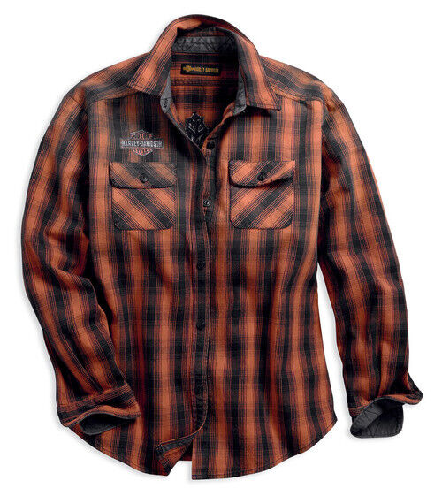 HARLEY DAVIDSON® WOMEN#x27;S LARGE OAK LEAF PLAID FLANNEL RELAXED FIT SHIRT NEW $47.98