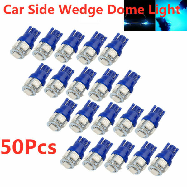 50X Ice Blue T10 5050 5SMD LED Interior Dome Map Lights Instrument Dash Bulbs