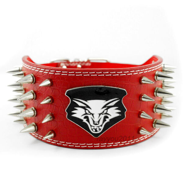 Red Spiked Studded Dog Leather Collars Adjustable for Medium Large Dogs Pitbull $26.99