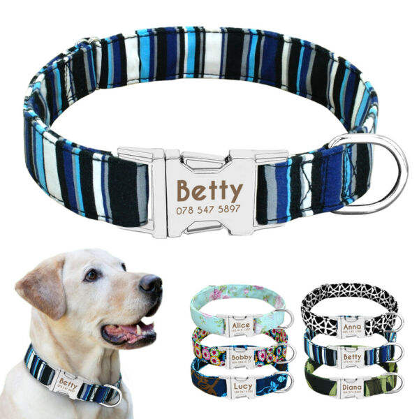 Personalized Dog Collars for Pets Custom Metal Buckle ID Tag Name Collar Engrave $8.49