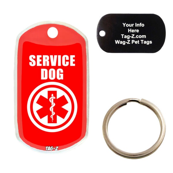 MEDICAL ALERT SERVICE DOG CUSTOMIZED PET TAG MILITARY Shape Tag Z Tags $10.00