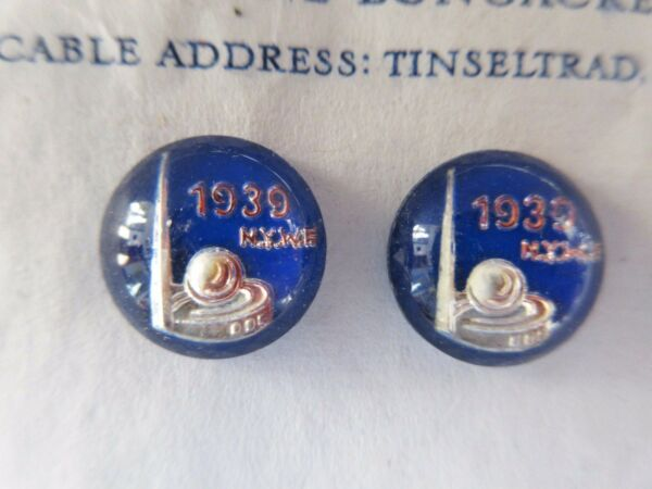 Vintage Antique Blue 1939 World#x27;s Fair Glass Buttons Ornaments Pair Jewelry RARE