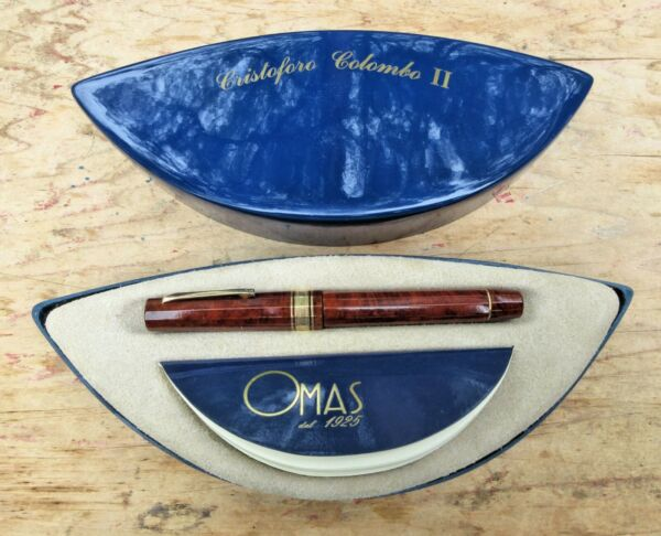 New OMAS 1992 Cristoforo Colombo LE Briarwood Fountain Pen - MEDIUM 18k Nib