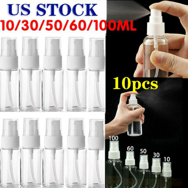 10Pcs Empty Refillable Plastic Pump Spray Bottles Outdoor Perfume Atomiser Tools