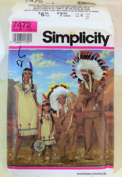 Vintage Simplicity Pattern Indian costumes and Head dresses Size A XXS LG NOS $14.99