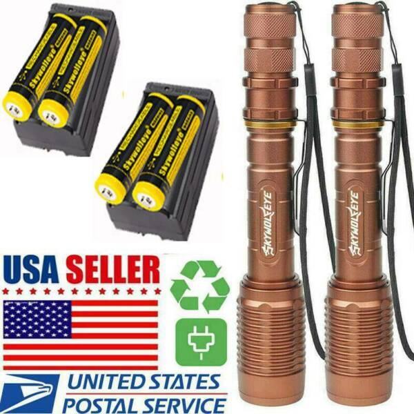 2020 USA Tactical Police 350000LM 5-Modes T6 LED Flashlight Focus Zoom Torch