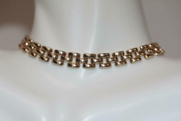 Fine 14K Yellow Gold Narrow Panther Link Chain Bracelet 7.5 inch long 7mm wide