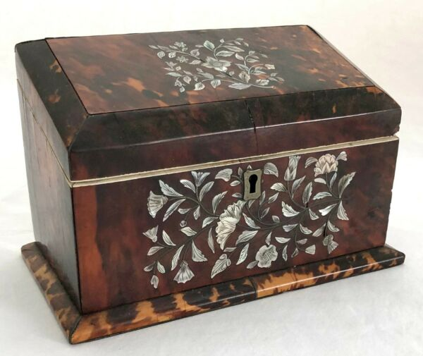 Antique Early 19th c. faux Tortoise Shell & Mother of Pearl Slant Top Box