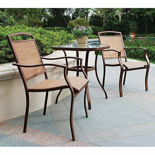 Mainstays Sand Dune 3 Piece Outdoor Bistro Set for Patio and Porch Tan $164.12