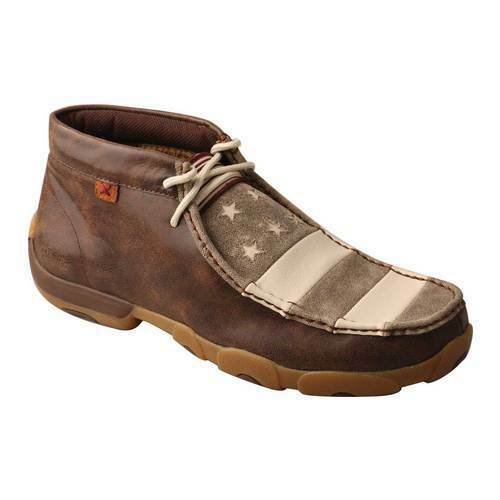Twisted X Men#x27;s MDM0068 VFW Chukka Driving Moc Muted Patriotic Full Grain