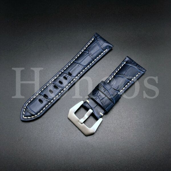 24 MM Blue Genuine Alligator Leather Watch Band Strap Stone Crack Rock 2021 new $16.99