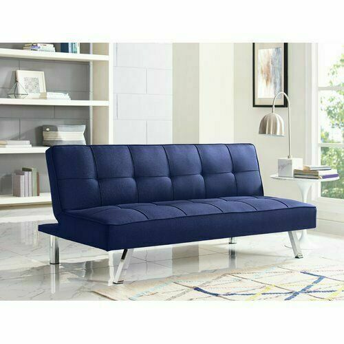 Modern Sofa Bed SERTA Futon Couch Convertible Sleeper Microfiber Seat Blue $179.98
