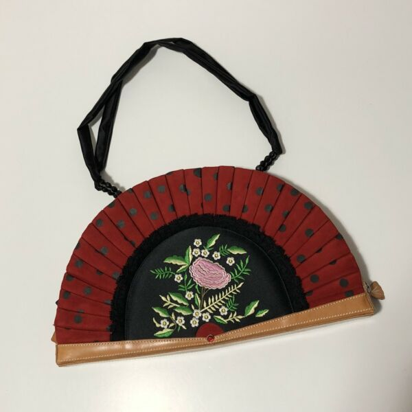 Rare Vtg Moschino Red Suede Embroidered Fan Bag $598.00