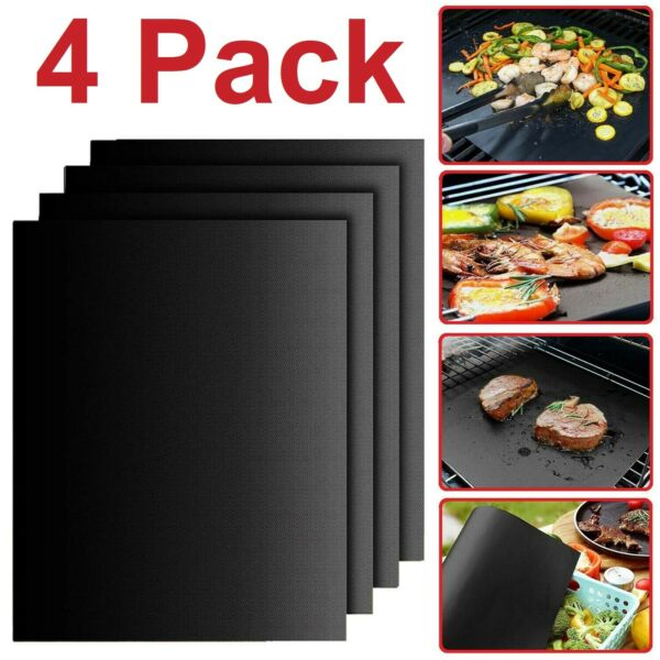 BBQ Grill Mats Outdoor Cooking Baking Non Stick Reusable Grilling Mat Set of 4