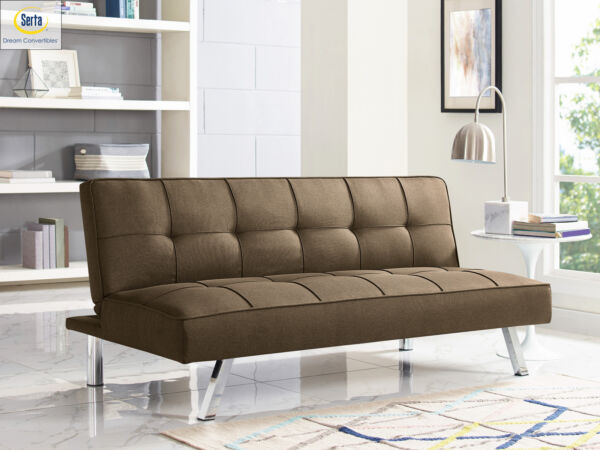 Modern Sofa Bed SERTA Futon Couch Convertible Sleeper Microfiber Seat Brown $179.98