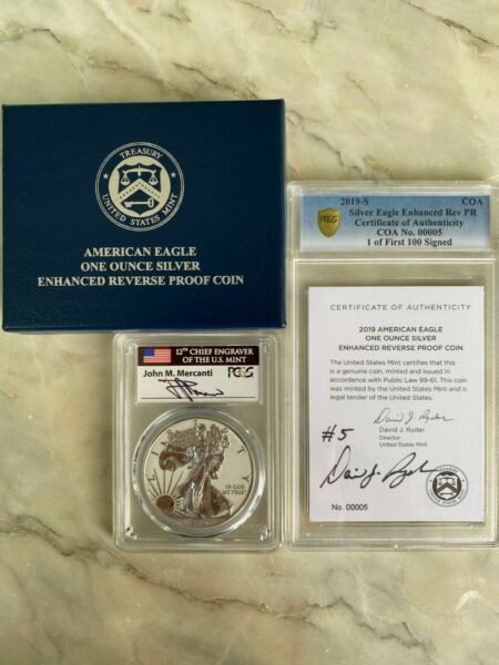 2019 S ENHANCED REVERSE PROOF SILVER EAGLE PCGS PR70 MERCANTI DAVID RYDER 00005